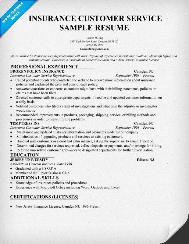resume examples for insurance csr