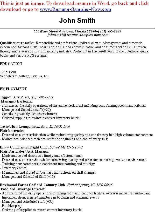 cheap resume writing websites for masters cheap school essay bartender resume skills - Professional Bartender Resume