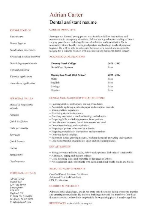 dental hygiene resume with picture template