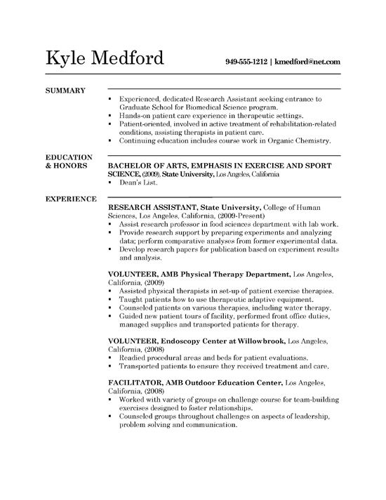 sample resume biomedical research