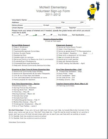 parent sign in sheets