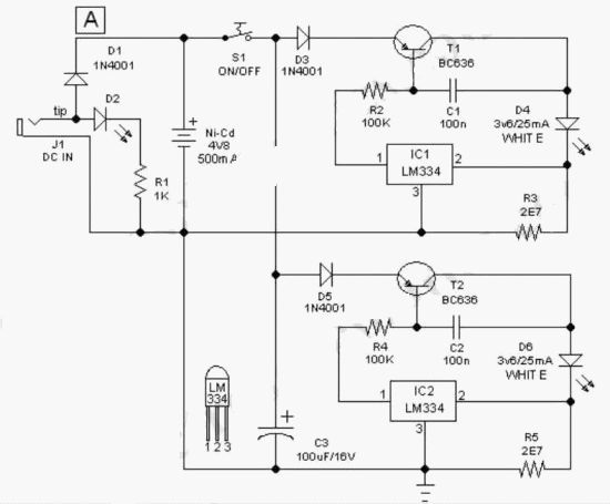 schematic circuit for the led torch