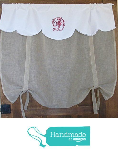 natural gray white linen lace tie up curtain monogram