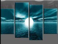 flower prints on canvas | LARGE TEAL SEASCAPE SUNSET ...