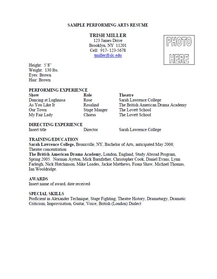 Proper Performing Arts Resume FormatSample Resume For Junior