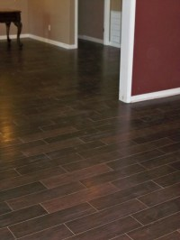 Wood look tile installed in a basement in N. Forsyth Co ...
