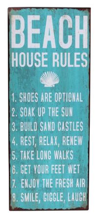 Beach House Rules Metal Wall Sign - Inspirational Word ...