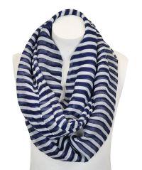 Navy Blue & White Stripe Infinity Scarf | Scarf Sensation ...