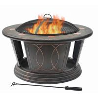 Hampton Bay - 34 Inch Round Fire Pit Including Cooking ...