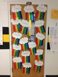 rainbow classroom door decor