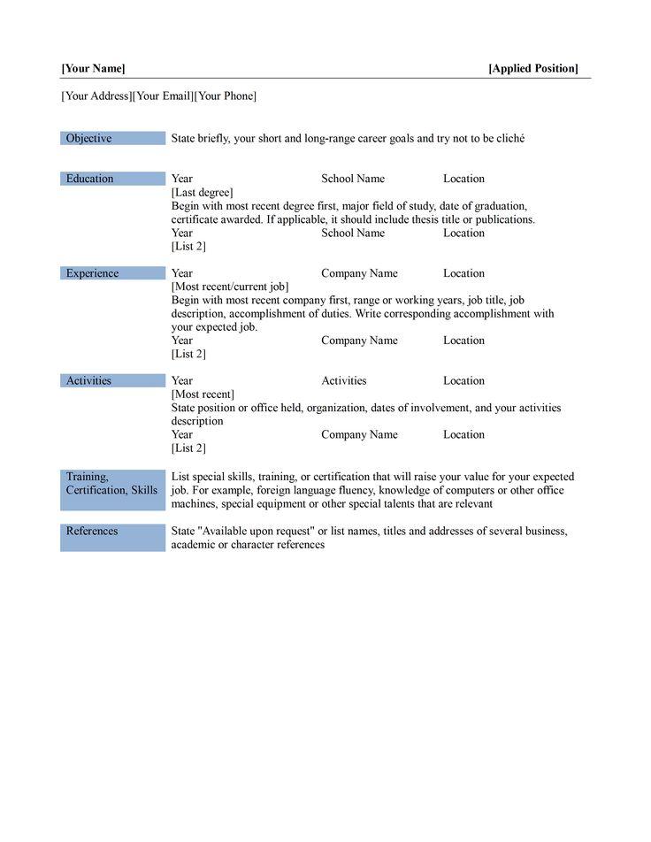 student resume templates microsoft word 2007