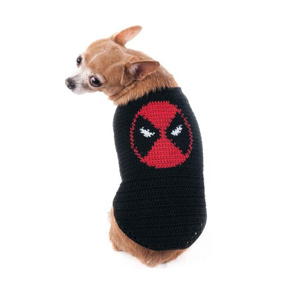 Deadpool Dog Costumes Marvel Superheroes Handmade Crochet