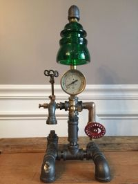 Steampunk Vintage Lamp, Industrial Table Art, Brass ...
