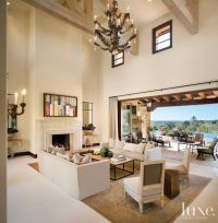 Transitional White Great Room with Double-Height Ceiling ...