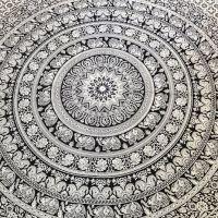 Black and White Tapestry Elephant Mandala Wall Art Hippie ...