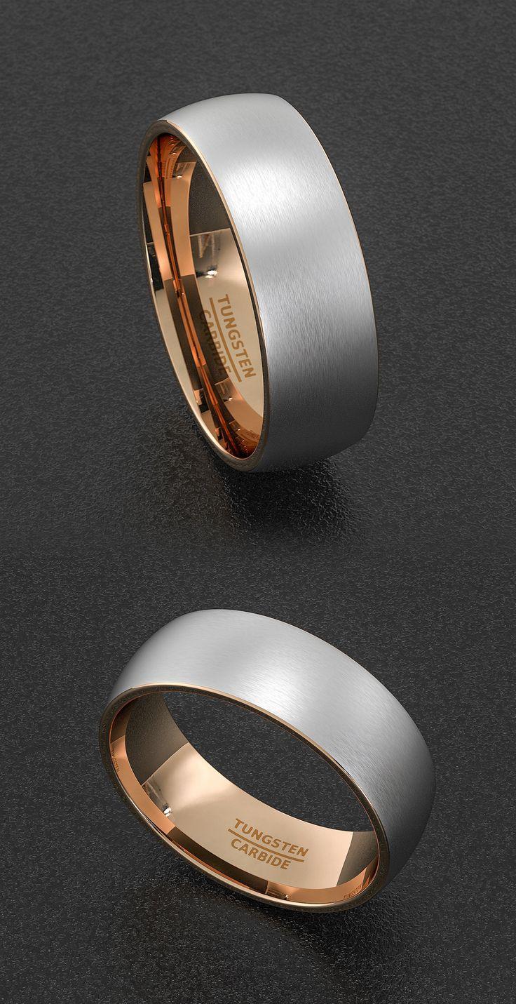tungsten wedding bands grey tungsten wedding bands Mens Wedding Band Tungsten Ring Two Tone 8mm Brush Matte Surface Dome Rose Gold Tungsten Carbide