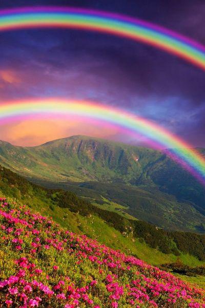 Double Rainbow Wallpaper. #rainbow #landscape #iphone #wallpaper   iPhone Wallpapers   Pinterest ...