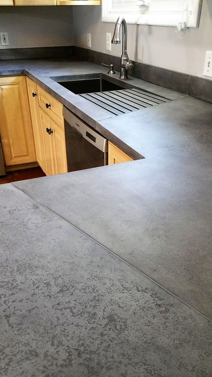 Big Island Kitchen Design Interesting Use Of Seams In This Medium Grey Concrete