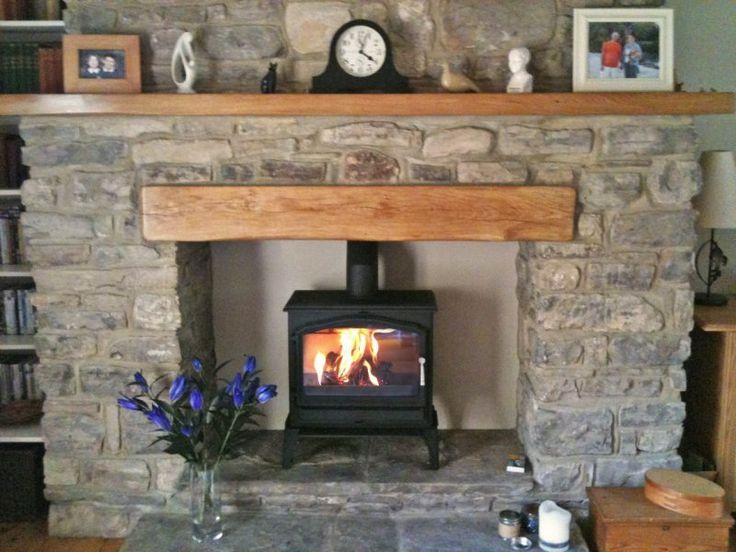 Esse 100 stove, oak fireplace beam, stone fireplace, oak