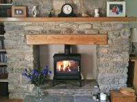 Esse 100 stove, oak fireplace beam, stone fireplace, oak ...