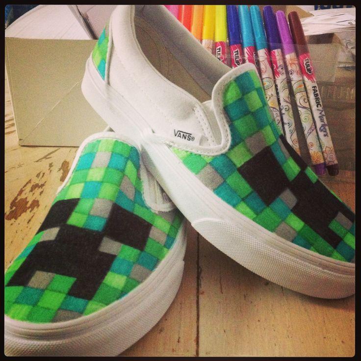 Minecraft shoes #refashion #kids #DIY