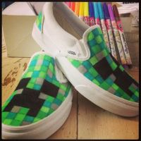 Minecraft shoes #refashion #kids #DIY