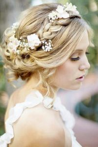 Flower garland wedding hair