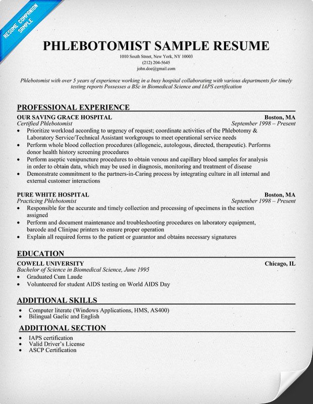 Nursing Resume Objective Phlebotomist Resume Sample (http://resumecompanion.com) #