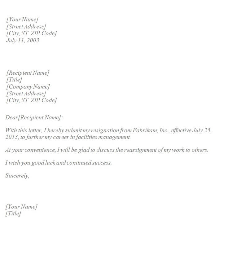 simple letter of resignation template classy resignation letter - simple resignation letter example