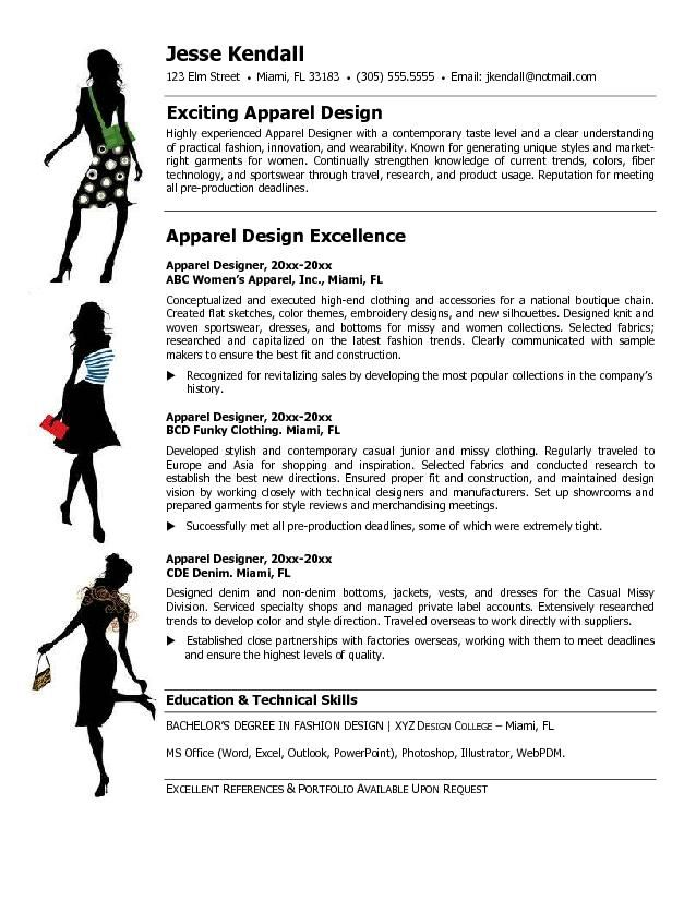 resume examples for fashion designers