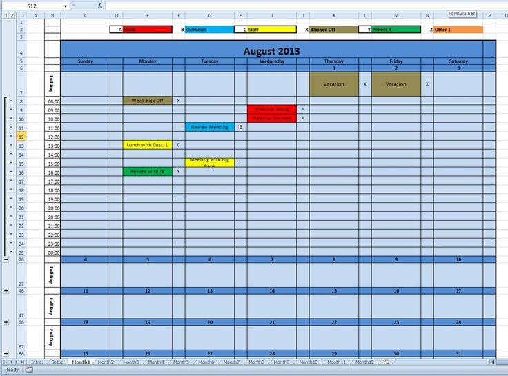 2016 monthly calendar template excel - annual calendar template