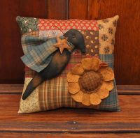 HANDMADE PRIMITIVE SUNFLOWER CROW PATCHWORK PILLOW SUMMER