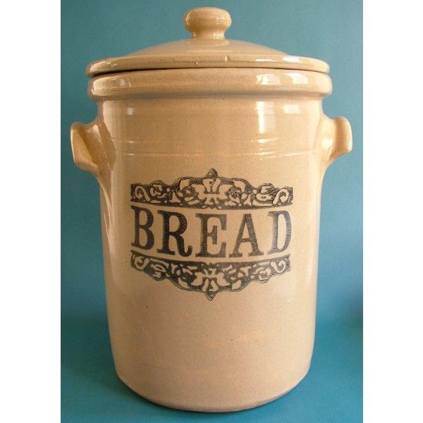 Rustic Utensil Crock Antique Bread Crock | Moira Pottery Stoneware Bread Crock