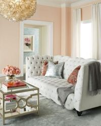 Blush and grey living room. I like how both silver and ...