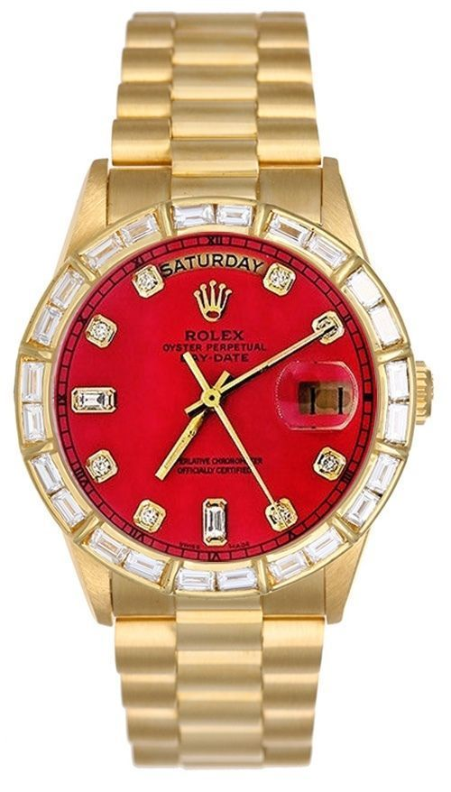Rolex Mens President Yellow Gold Watch Red Diamond Dial