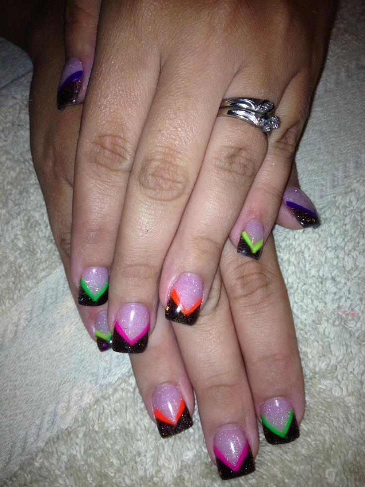 Fun neon acrylic nail design
