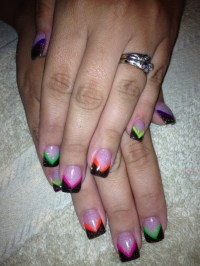 Fun neon acrylic nail design | Sara's nail designs ...