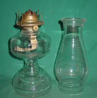 Vintage Kerosene Oil Lamp Clear Glass Eagle Plume & Atwood ...