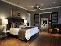 Contemporary Bedroom - Taupe gray paint, dark bedframe ...