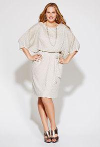 Rehearsal Dinner Dress:Plus Size Shimmery Belted Blouson ...
