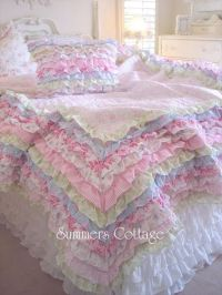 Shabby cottage colors chic petticoat ruffles full / queen ...