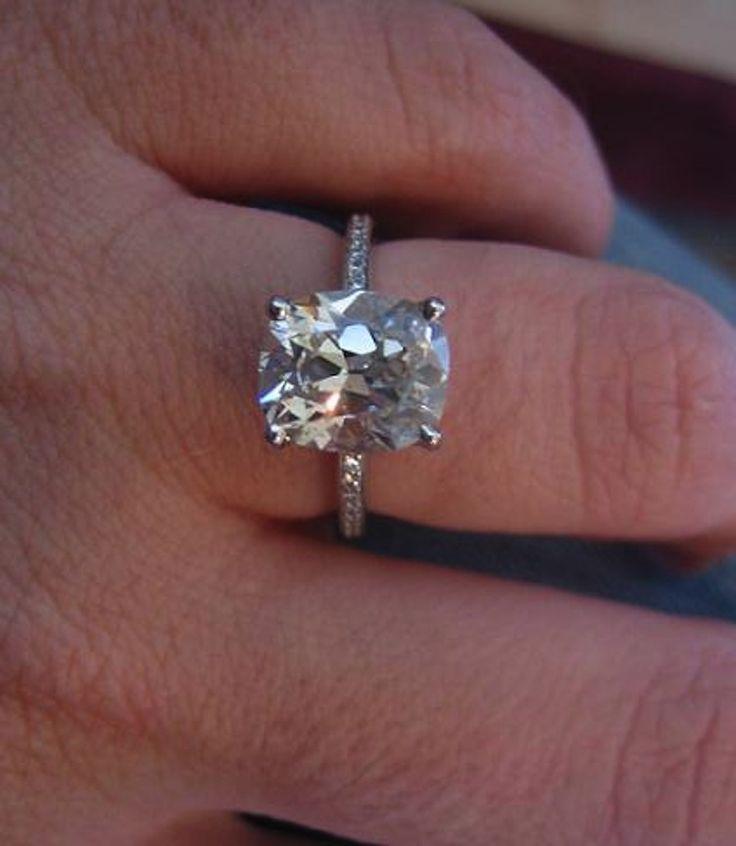 Real Ritani Engagement Rings 3 Carat Cushion Cut Diamond