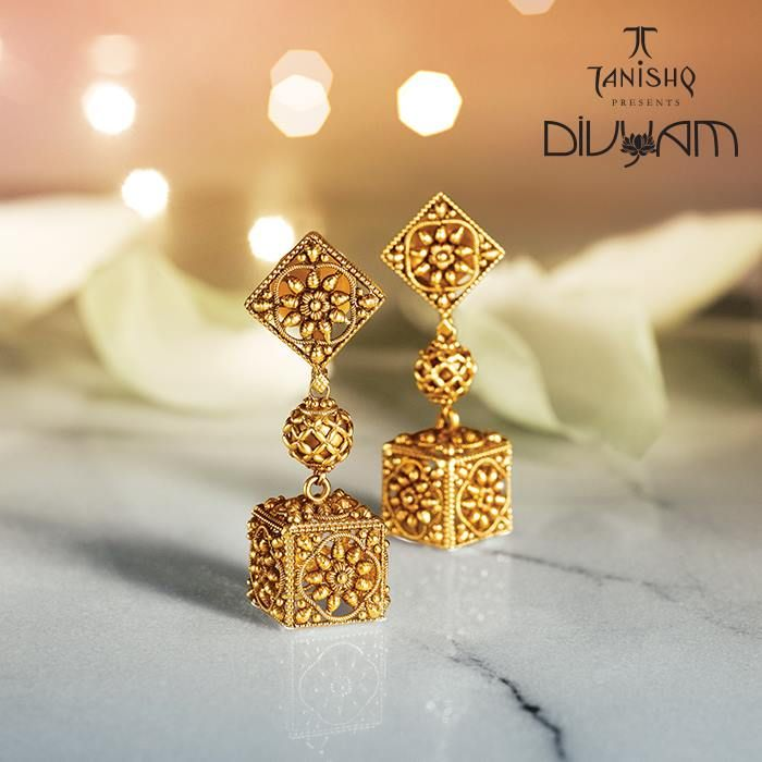 Pretty gold earrings by Tanishq's Divyam collection
