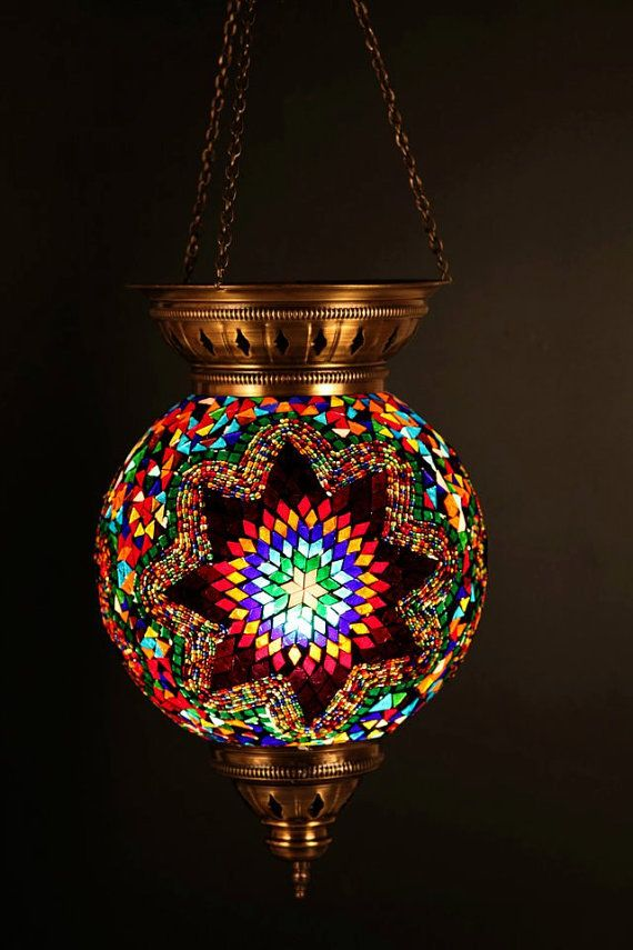 Hanging Stained Glass Mosaic Turkish Ottoman Moroccan - Lantern Chandelier