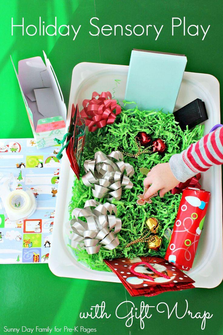 Christmas gift wrap sensory bin holiday themeschristmas