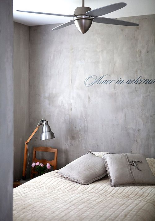 Bed Verven Concrete Wall With Writing Polished Lime Or Clay Plaster