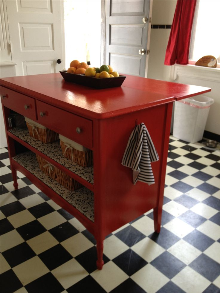 Kitchen Island Drop Leaf Turned An Old Dresser Into A Kitchen Island. Added A Leaf