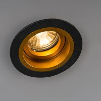 Recessed Spotlight Chuck Round Black with Gold   Chapel ...