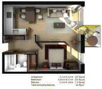 One bed flat floor plan | 3D rooms | Pinterest | Flats ...