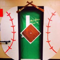 Baseball themed classroom door | Sport team school theme ...